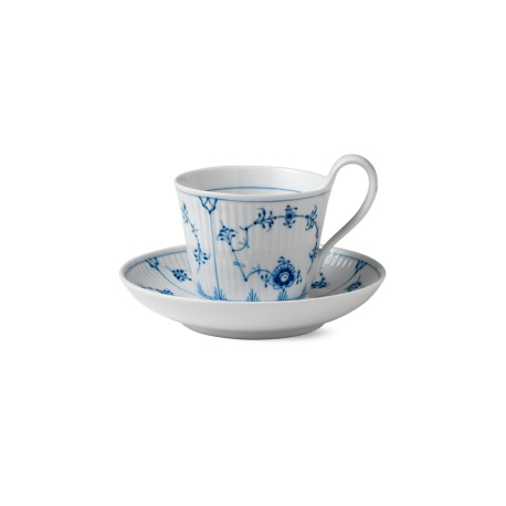Aukšto puodelio su lėkštute komplektas BLUE FLUTED
