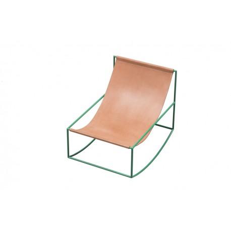 Kėdė ROCKING CHAIR GREEN_LEATHER