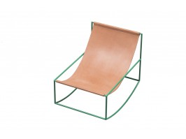 Kėdė ROCKING CHAIR GREEN_LEATHER